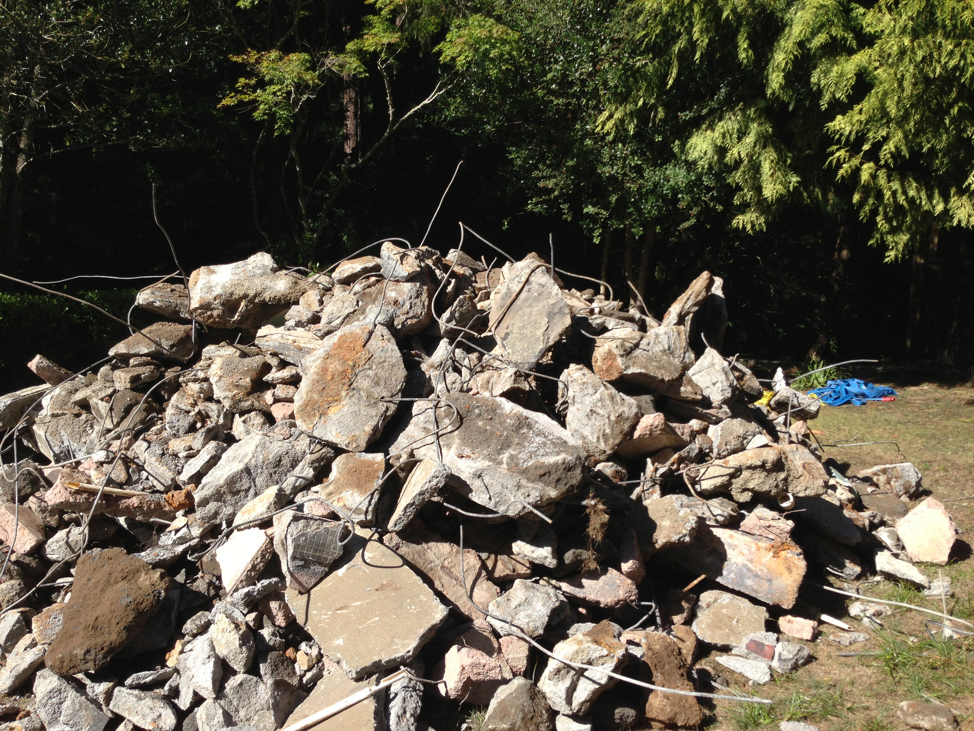 Pile of pool rubble mill valley